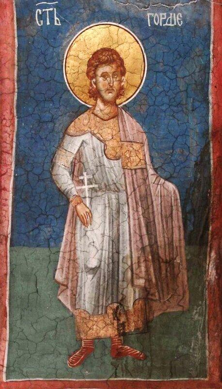 Святой мученик Гордий. Фреска монастыря Высокие Дечаны, Косово, Сербия. Около 1350 года.