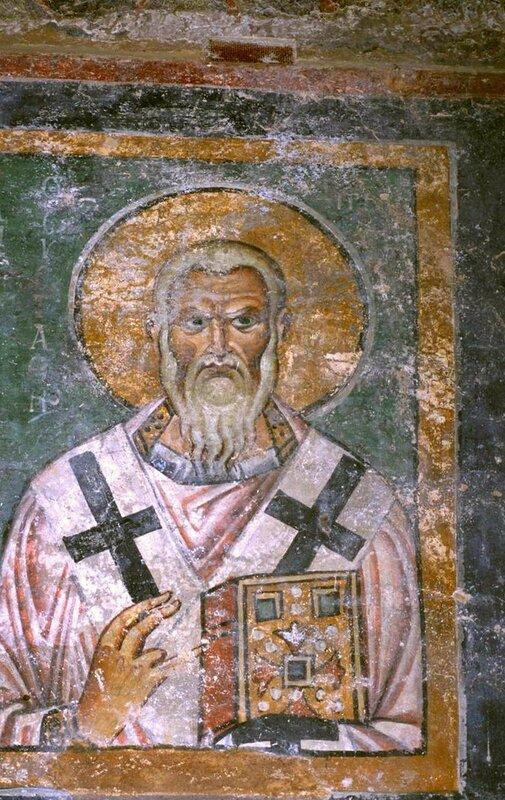 Святитель Евстафий, Архиепископ Антиохийский. Фреска храма Святой Софии в Охриде, Македония. 1040-е годы.
