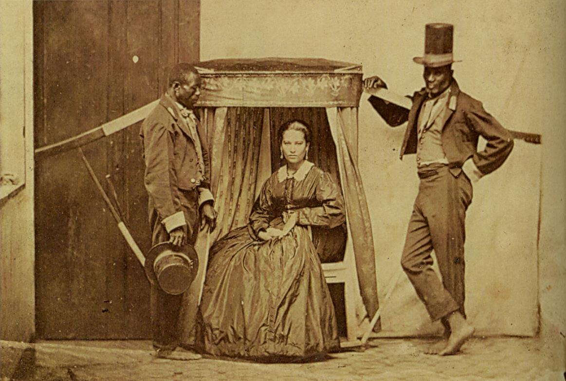 Lady in a litter being carried by her slaves, province of São Paulo in Brazil, ca.1860.jpg
