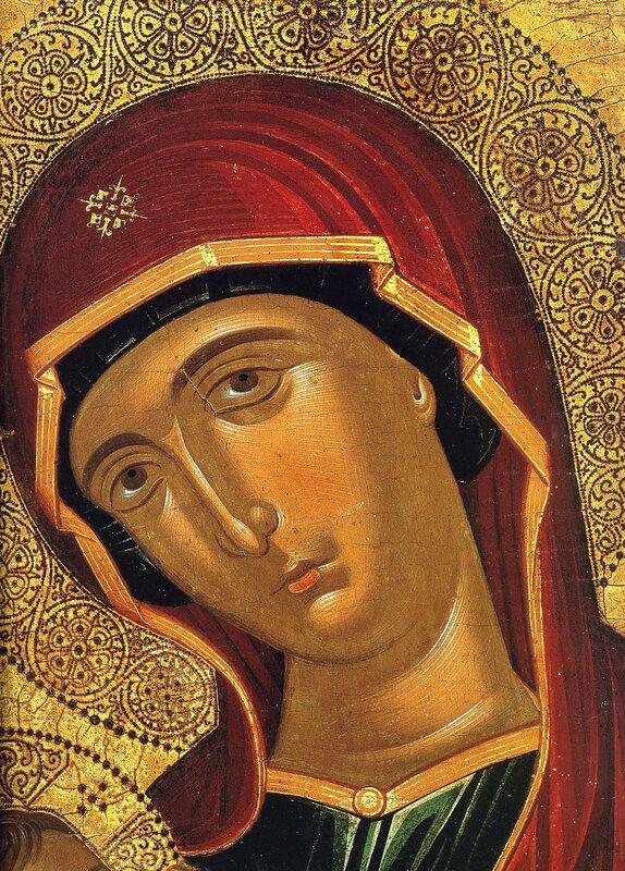 """Икона Божией Матери """"Млекопитательница"""". Греция, XV век. Иконописец Андреас Рицос или его круг. Фрагмент."""