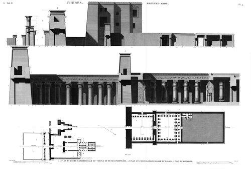 Дворец Рамсеса III в Мединет-Абу, близ Фив, чертежи