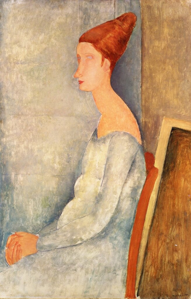 Portrait of Jeanne Hebuterne Seated in Profile - 1918 - The Barnes Foundation - Painting - oil on canvas.jpeg