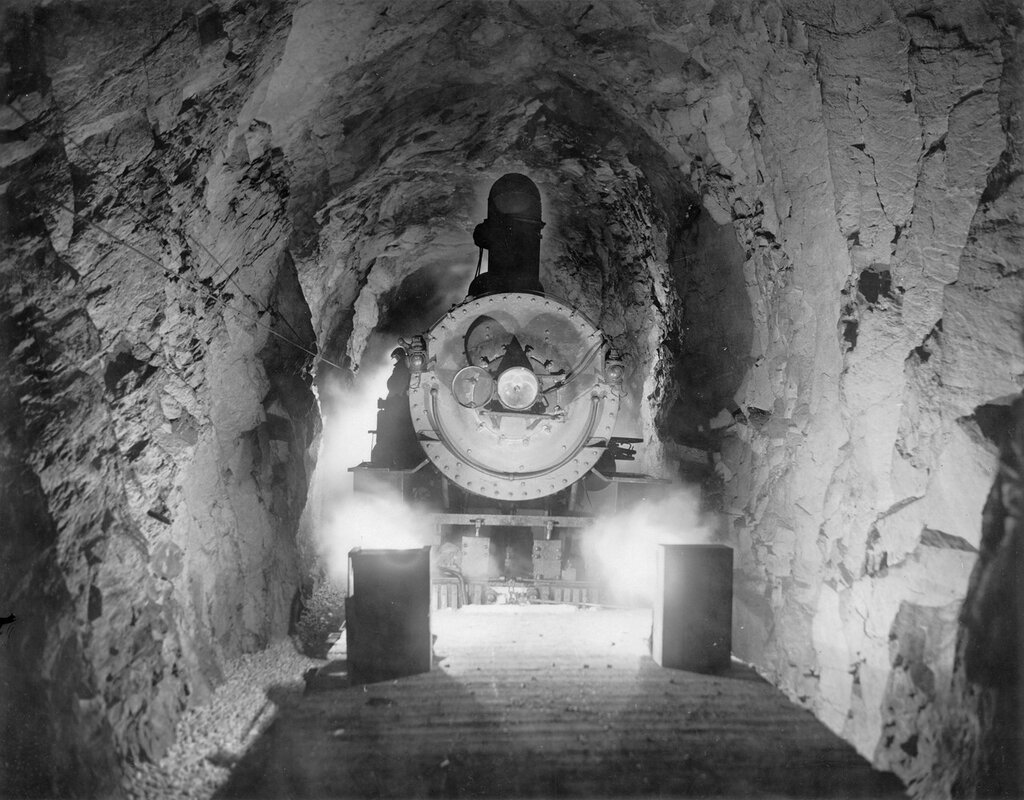 Denver and Salt Lake Railway locomotive in the Moffat Tunnel in Gilpin County, Colorado, 1928