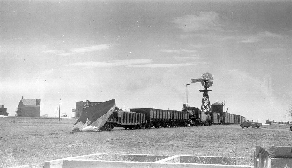 Chicago, Burlington & Quincy wedge plow train, engine number 919, at Keota, Colo., April 15, 1955