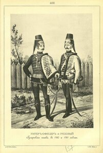 468. УНТЕР-ОФИЦЕР и РЯДОВОЙ Гусарского полка, в 1760 и 1761 годах.