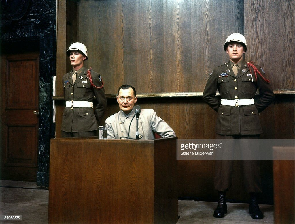 Reichsmarschall, Commander of Luftwaffe Hermann Goering (1893 - 1946) during cross examination at his trial for war crimes in Room 600 at the Palace of Justice during the International Military Tribunal, 1946.jpg