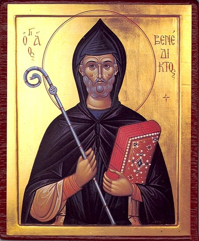 Святой Преподобный Венедикт Нурсийский. Греческая икона.