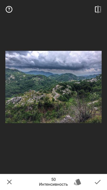 редактор Snapseed Черногория на фото