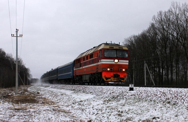 ТЭП70-0551 с ПДСом Адлер-Гомель на перегоне Берёзки - Новобелицкая