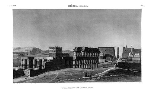 Храм Амона в Луксоре, верхний Нил, общий с юга, гравюра начала XIX века, Египетский атлас Наполеона