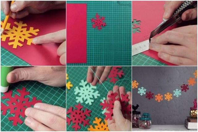 Как сделать гирлянду из бумажных снежинок