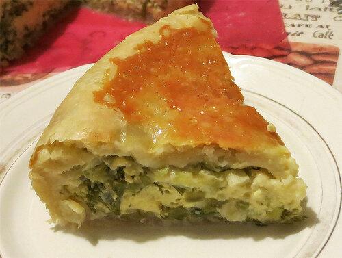 Пирог с омлетом, сыром и зеленью