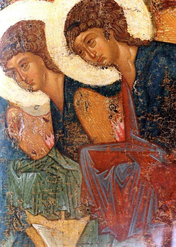 Крещение Господне. Икона из Успенского собора во Владимире. 1410-е годы. ГРМ. Фрагмент. Ангелы Господни.