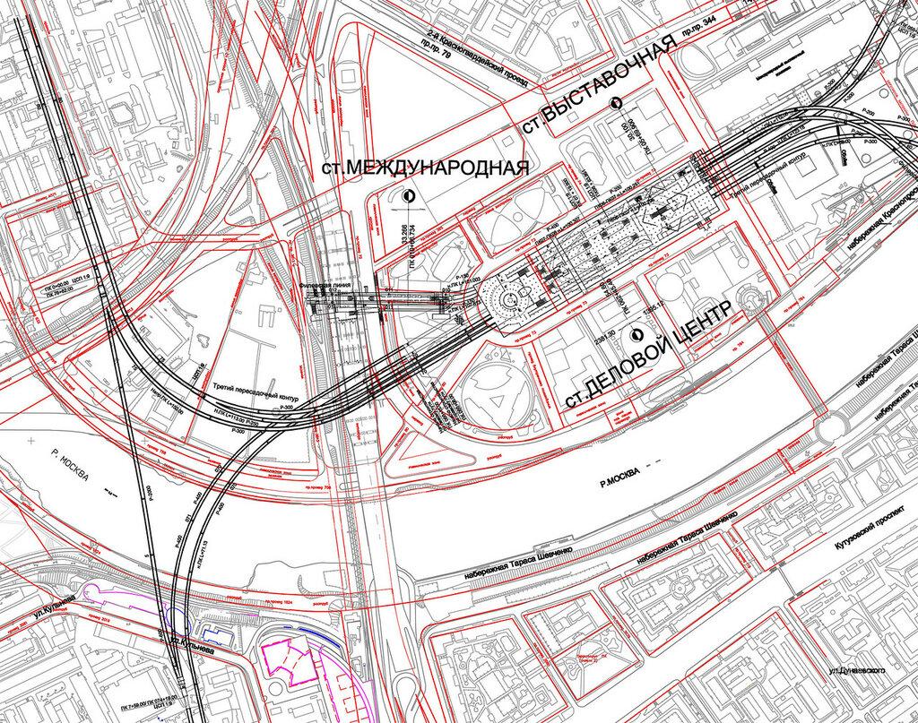 Существующие и проектируемые пути метрополитена в районе Сити до 2015 года