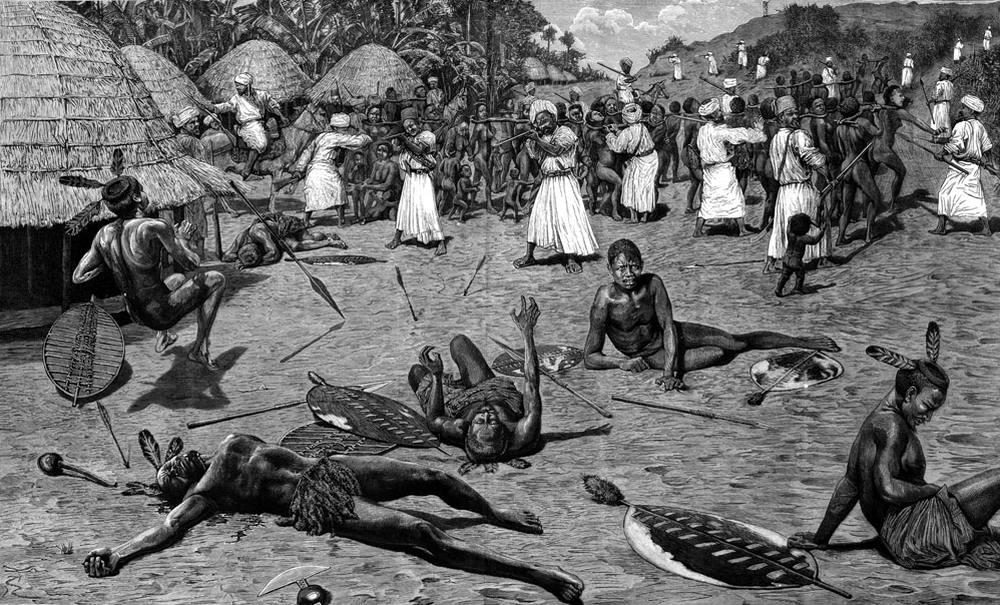 Нападение мусульман-работорговцев на деревню (Центральная Африка, 1880-е годы)