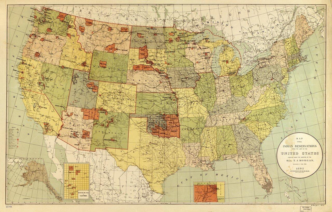 1892. Карта, показывающая индейские резервации
