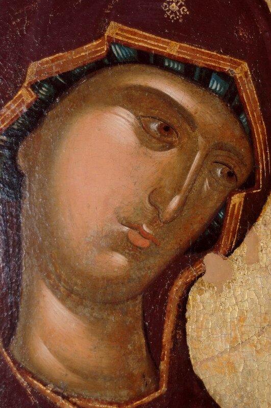 Пресвятая Богородица. Фрагмент иконы из Хиландарского деисусного чина. 1360-е годы. Монастырь Хиландар на Афоне.