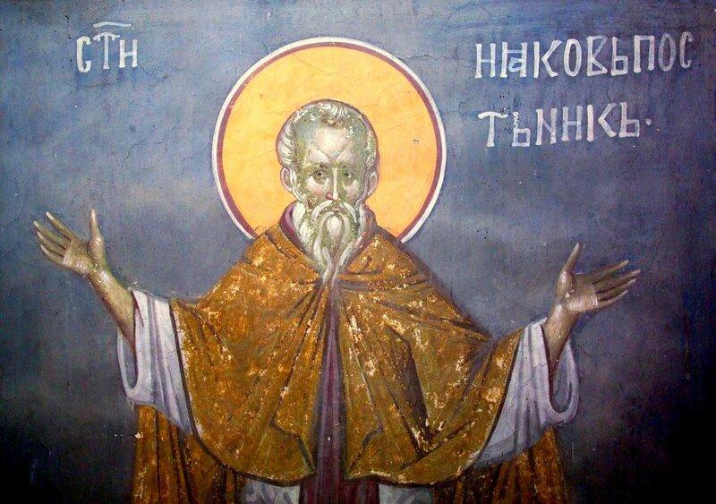 Святой Преподобный Иаков Постник. Фреска монастыря Грачаница, Косово, Сербия. Около 1320 года.