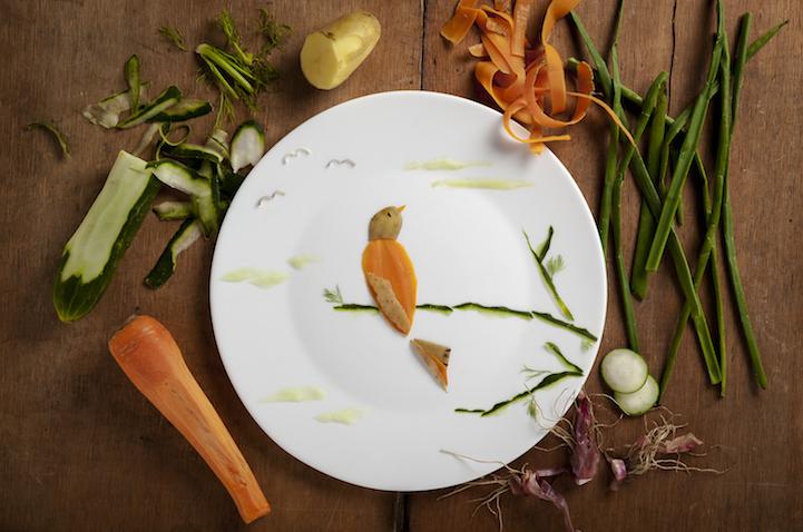 Креативно расположенные на тарелке продукты