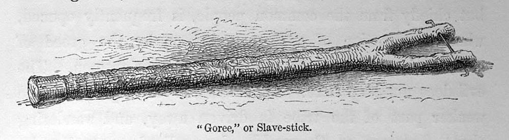 Раздвоенная деревянная вилка, одеваемая на шею конвоируемого раба в целях сковывания его движений (1860-е год)