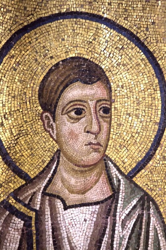 Святой Апостол Филипп. Мозаика монастыря Осиос Лукас (Преподобного Луки), Греция. 1030 - 1040-е годы. Фрагмент.
