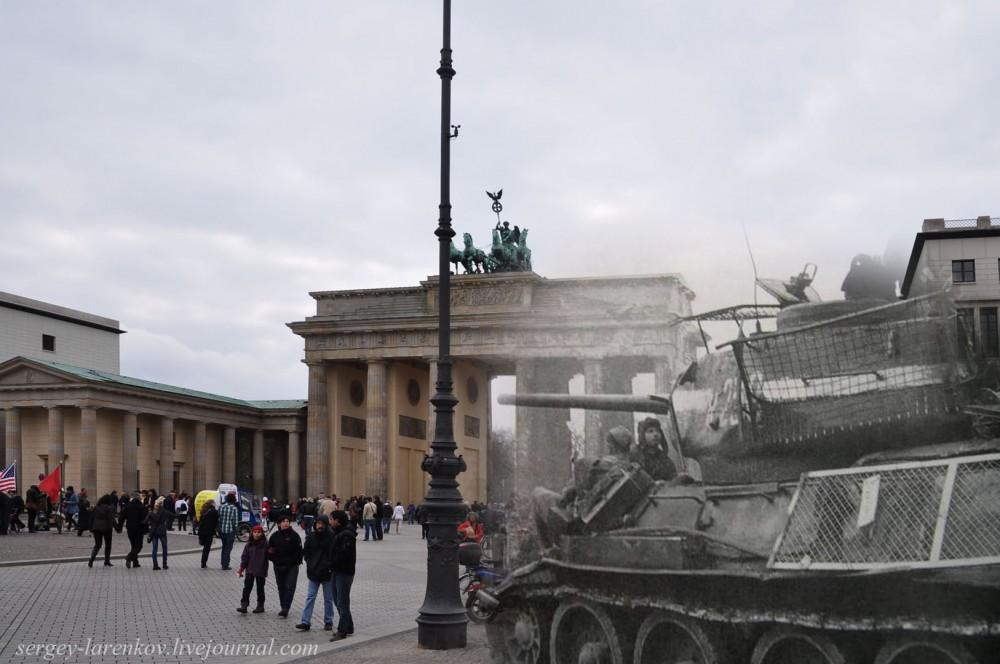34 Берлин 1945-2010 Танк Т-34-85 с противокумулятивными экранами на Паризер платц..jpg