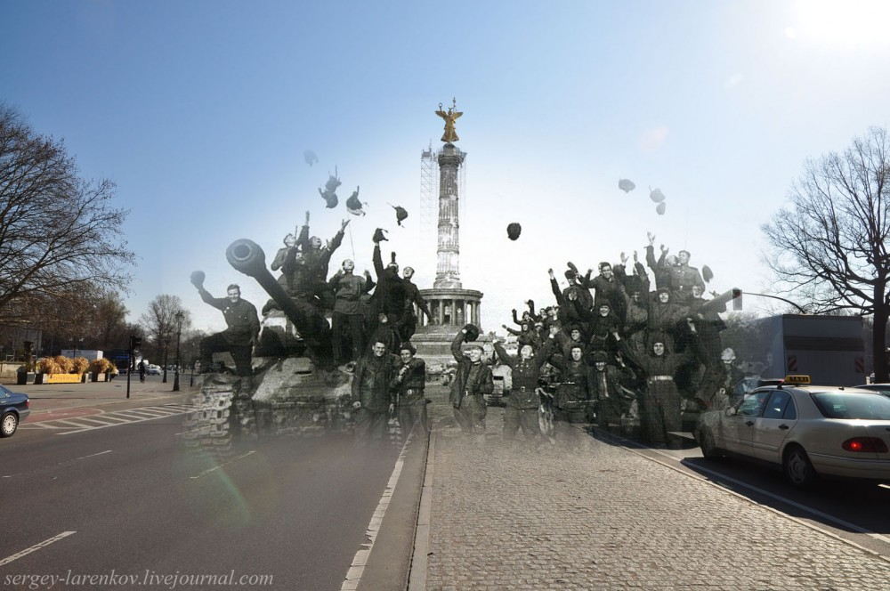 49 Берлин 1945-2010 Советские танкисты у площади Большой звезды - Grosser Stern platz..jpg