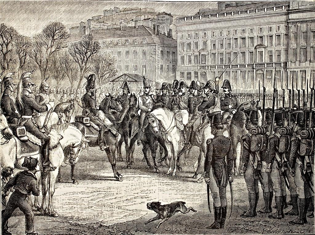 71 Resistencia de las tropas revistadas por el conde de Artois en Lyon a dar el grito de ¡viva el rey
