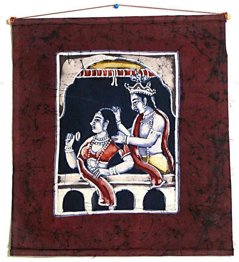 Шри Шри Радха-Кришна (krishna-plaiting-hair-of-radha-wall-hanging)
