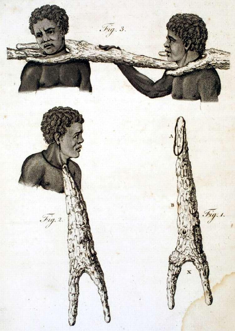 Разновидности деревянных хомутов, которые использовались в процессе время конвоирования рабов (Сенегал, 1789 год) - 2