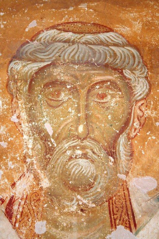 Священномученик Пётр, Архиепископ Александрийский.  Фреска церкви Спаса на Нередице в Новгороде. 1199 год.
