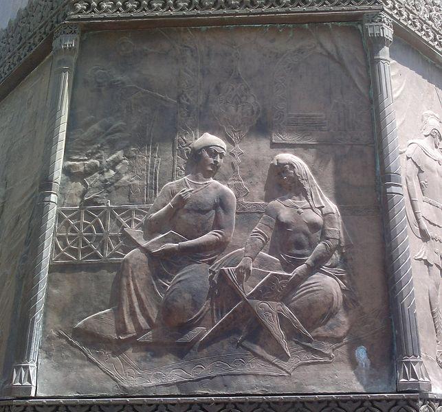 643px-Барельеф_Лейли_и_Меджнуна_на_памятнике_Низами_в_Баку.jpg