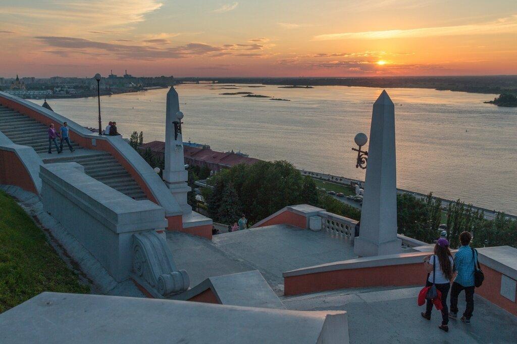 Чкаловская лестница на закате, Нижний Новгород, Волга