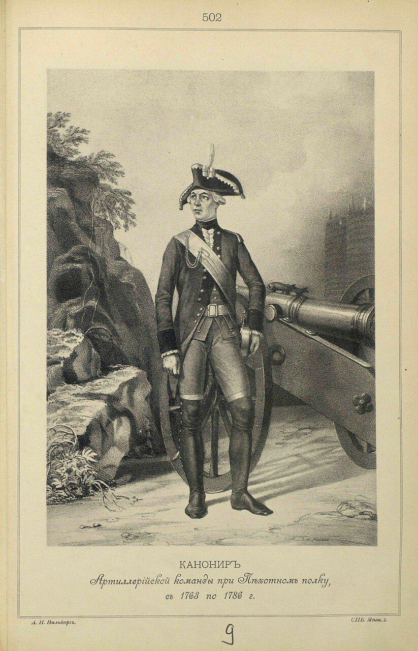 502. КАНОНИР Артиллерийской команды при Пехотном полку, с 1763 по 1786 г.