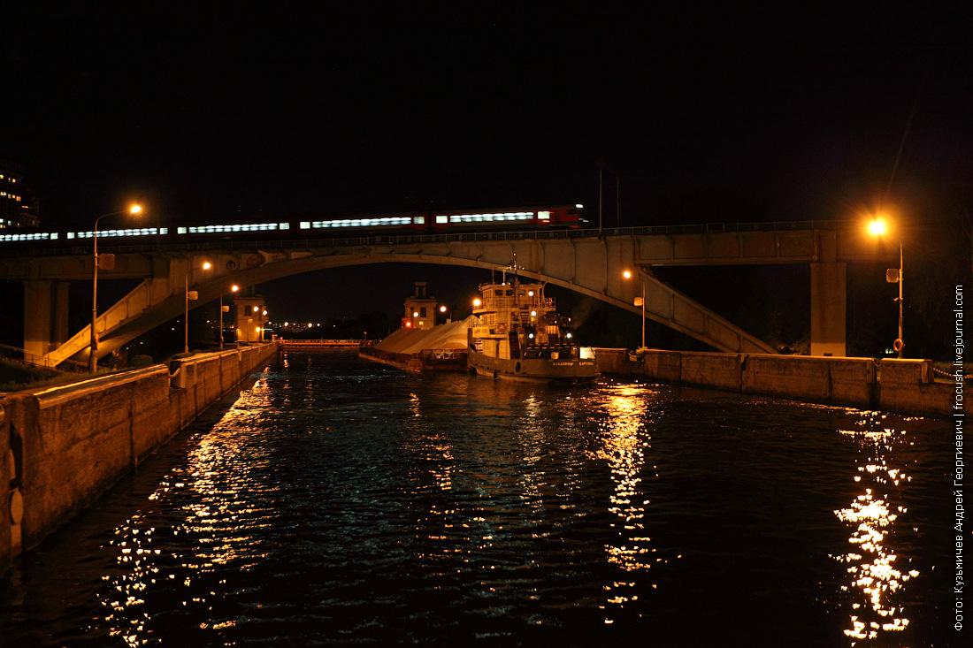 фотография ночная шлюз №8 канала имени Москвы