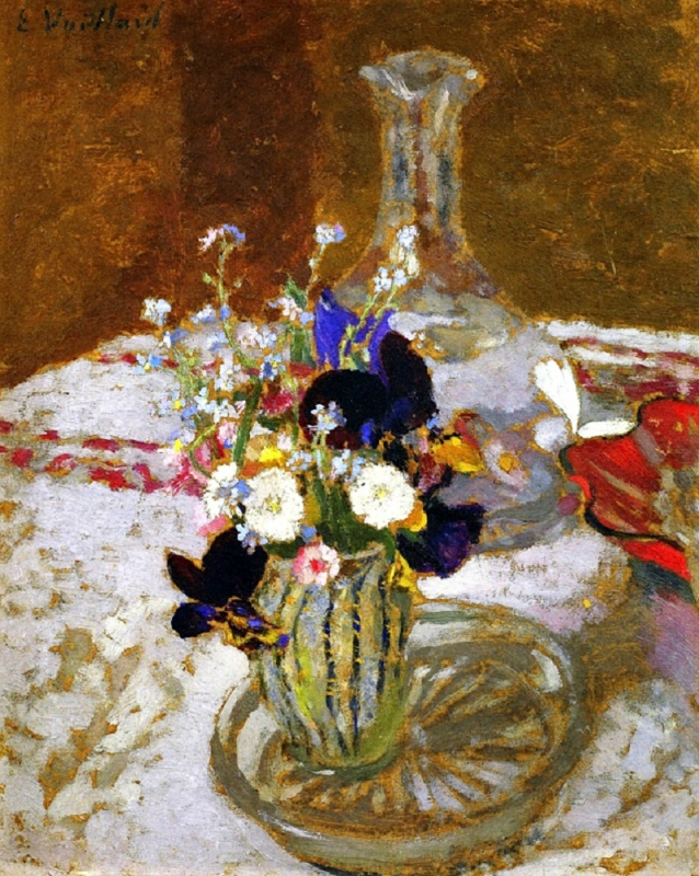 4 Jean Édouard Vuillard (French artist, 1868-1940) Bouquet of Pansies, Myosotis and Daisies in front of a Carafe, on a Table 1900.jpg