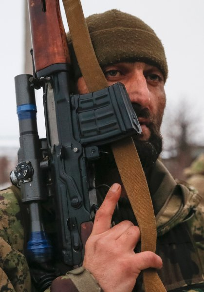 "Pro-Russian separatist from the Chechen ""Death"" battalion takes part in a training exercise in the territory controlled by the self-proclaimed Donetsk People's Republic"