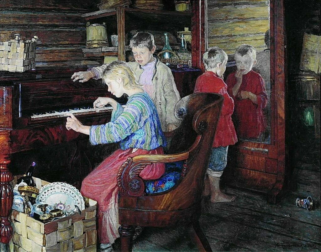 Дети за пианино. 1918 106,5x135,7 ГТГ.jpg