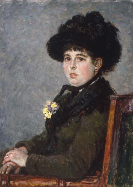 G.Caillebotte, Frau mit Federhut - G.Caillebotte, Portrait de Femme, c.1876 - Caillebotte, Gustave , 1840-1894.