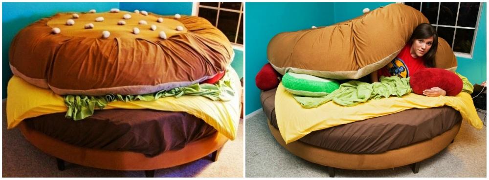 Очень реалистичное исполнение, ивсе благодаря мелочам: подушки имитируют соленые огурчики икетчуп,