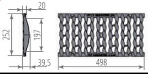 Водоприемная чугунная щелевая решётка DN200 усиленная - Схема