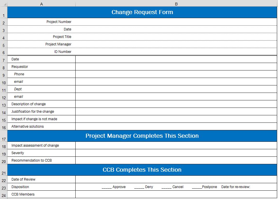 Создаем в Excel формы контроля изменений проекта