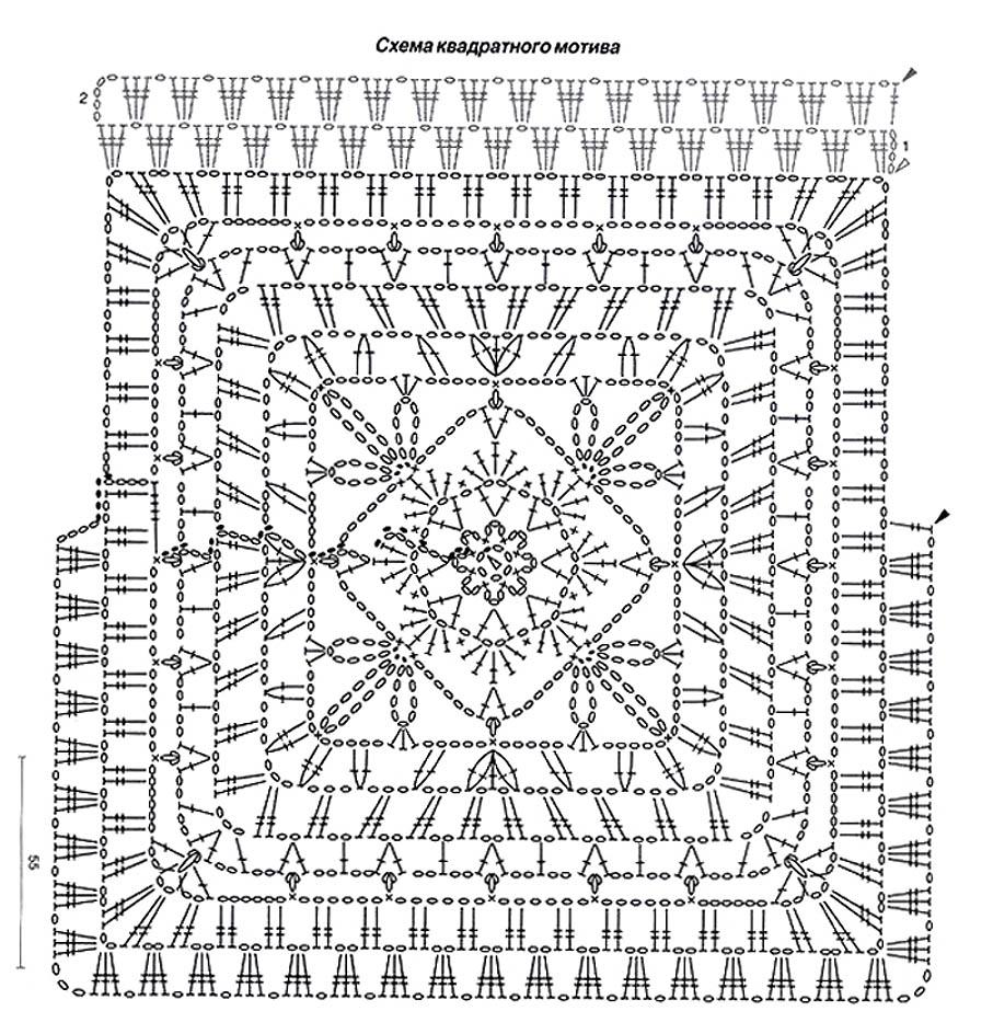 Вязание крючком схемы квадратов больших