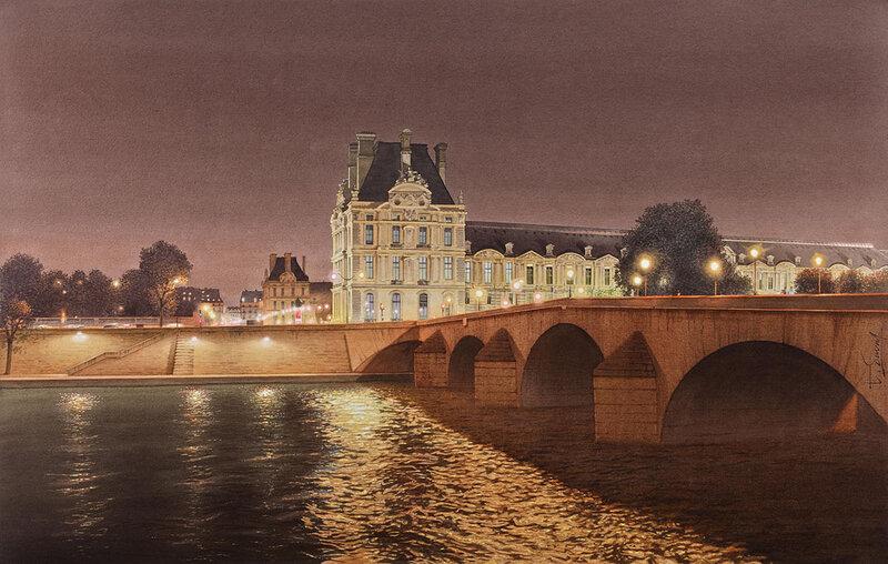 Nocturne sur le Louvre et le Pont Royal