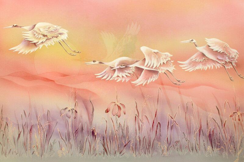 Когда сквозь тьму пробьётся лучик света, цветок любви отпустит сладкий сон...Роспись по шёлку Андрея и Вероники Русско