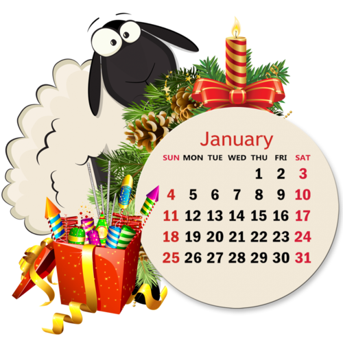 Calendar grid funny sheeps /английская версия/