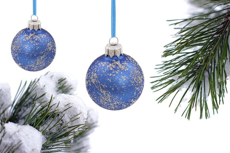 Christmas evergreen tree, glass ball and snow