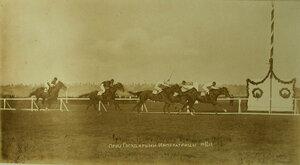 Момент финиша скачек на приз императрицы;впереди- жокей на кобыле Грымзе.