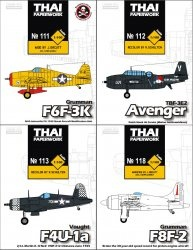 Журнал Grumman F6F-3K Drone/ Grumman F8F-2 Bearcat Conquest I / Voght F4U-1A VMF-312/ TBF-3E2 Dutch Naval Air Service [ThaiPaperwork  111,112,113,118]