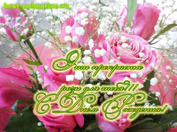 Открытка на День Рождения - Эти прекрасные розы для тебя!!!